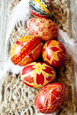Traditional painted easter eggs with delicate feathers Royalty Free Stock Photo