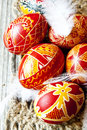 Traditional painted easter eggs with delicate feathers Stock Images