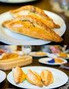 Traditional pasty kibin karaite similar to cornish pasties trakai cafe Royalty Free Stock Photography