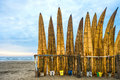 Traditional peruvian small reed boats caballitos de totora straw still used by local fishermens in peru Stock Images