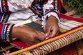 Traditional Peruvian Weaving Stock Images