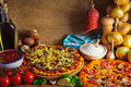 Traditional pizza ingredients Royalty Free Stock Image