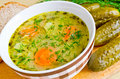 Traditional polish cucumber soup Stock Photos