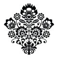 Traditional polish folk pattern in black and white decorative set paper catouts style isolated on Royalty Free Stock Image