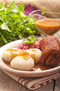 Traditional Polish, Silesian dish. Meat, potato dumplings, cabbage. Royalty Free Stock Photo