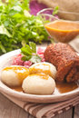 Traditional Polish, Silesian dish. Meat roulade with potato dump Royalty Free Stock Photo