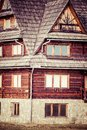 Traditional polish wooden hut from zakopane poland Stock Photos
