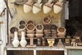 Traditional pottery in market small shop,Egypt Royalty Free Stock Photo