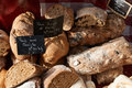 Traditional provence bread random sorts of french for sale ot south france market luberon region Stock Photography