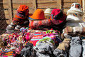 Traditional quechua colorful textil and hats Royalty Free Stock Photo