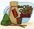 Traditional Realgar Wine and Zongzi Dumpling for Duanwu Festival, Vector Illustration