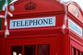 Traditional red british telephone box