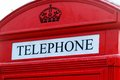 Traditional red british telephone box
