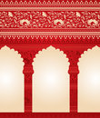 Traditional red Indian floral temple background Royalty Free Stock Photo