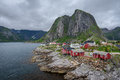 Traditional red rorbu cottages in Hamnoy village, Lofoten islan