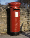 Traditional red Royal Mail pillar box Royalty Free Stock Photo