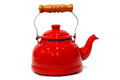 Traditional red teapot with wooden handle bright tall Stock Photography