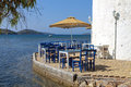 Traditional restaurant in greece greek tavern by the sea at skiathos island Stock Images