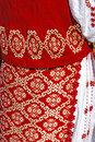Traditional romanian port of female clothes detail from folk costume for women specific on banat area Stock Images