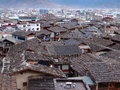 Traditional roof vs new roof tile concrete in yunnan china transition change of time Stock Photography