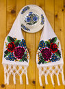 Traditional rural objects romanian towel painted plates Royalty Free Stock Images