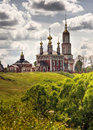 Traditional russian churches in countryside Royalty Free Stock Photo
