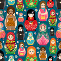 Traditional Russian doll Matryoshka toy nesting vector illustration with human girl cute face seamless pattern