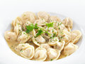 Traditional russian dumplings with meet or cheese served parsley on a white round plate isolated on white Stock Photo