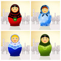 Traditional russian matryoshka dolls illustration of Royalty Free Stock Images