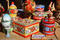 Traditional russian painted souvenirs wooden from ancient town gorodets Stock Photo