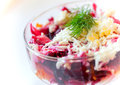Traditional Russian salad with herring and beet Royalty Free Stock Photo