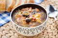 Traditional russian soljanka soup tasty in a bowl Stock Image