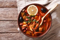 Traditional Russian soup solyanka on the table. Horizontal top v Royalty Free Stock Photo