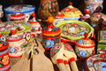 Traditional russian souvenirs wooden painted by ancient town gorodets Stock Image