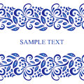 Traditional Russian vector seamless pattern frame in gzhel style. Can be used for banner, card, poster, invitation etc.