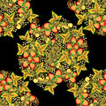 Traditional Russian vector seamless pattern in khokhloma style with flowers and berries in round wreath