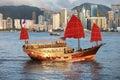 Traditional Sail junk ship in modern Hong Kong Royalty Free Stock Photo