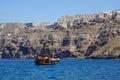 Traditional sailing boat in Aegean Sea,Santorini. Royalty Free Stock Photo