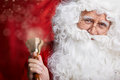 Traditional santa claus ringing on a bell concept xmas coming christmas Royalty Free Stock Photos