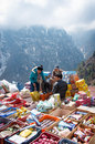 Traditional saturday market in namche bazar nepal march on march khumbu district himalayas Stock Image