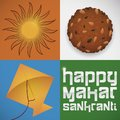 Sun, Laddu and Kite as Traditional Elements for Makar Sankranti, Vector Illustration Royalty Free Stock Photo