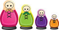 Traditional set of russian dolls illustration smaller and smaller Royalty Free Stock Image
