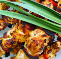 Traditional shish kebab prepared on coals Royalty Free Stock Photos