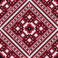 Traditional slavic black and red stitch seamless background pattern Royalty Free Stock Photo