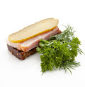 Traditional snack of rye bread pickles and bacon decorated with bunch of parsley and dill Royalty Free Stock Photo