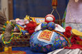 Traditional soft toys of colored fabric handmade