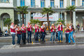 Traditional song to cheer up the marathon runners on the swiss city marathon lucerne switzerland oct a group of musicians lined Royalty Free Stock Photo
