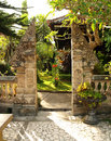 Traditional split gate in balinese garden Stock Images