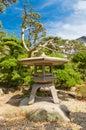 Traditional stone lantern (toro) in Takamatsu castle, Japan Royalty Free Stock Photo