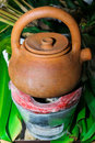 Traditional stoves and pots set made of red clay for boiled herbal medicine Royalty Free Stock Photos